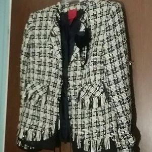 Lined black and white fringed jacket